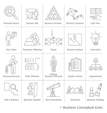 business: Business management conceptual icons. thin line style.