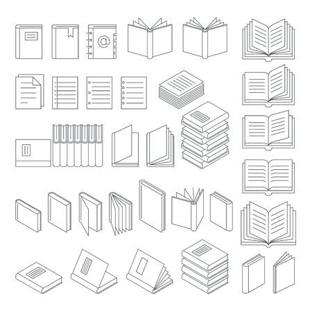 e reading: Book line icons set. Illustration. Illustration