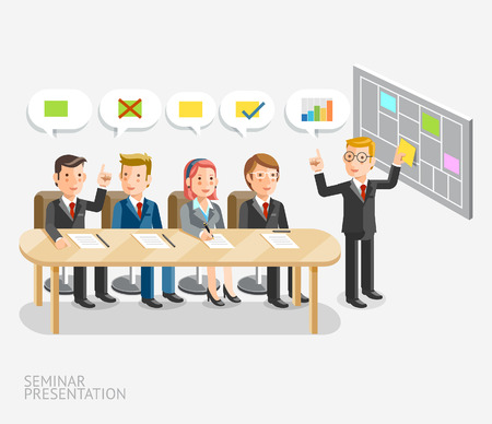 cartoon businessman: Seminar presentation conceptual. Business meeting with speech bubble template. illustration