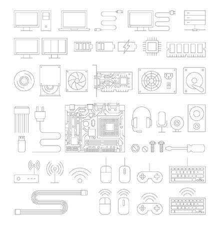 mainframe: Computer hardware line icons set. Illustration.