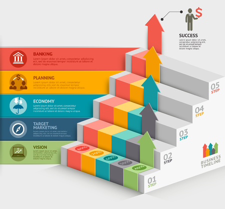 3d business staircase diagram template. Vector illustration. can be used for workflow layout, banner, number options, step up options, web design, infographics, timeline template. Stock Illustratie