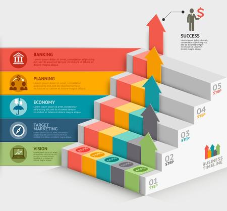 Plantilla de diagrama de escalera de negocios 3d. Ilustración del vector. se puede utilizar para el diseño de flujo de trabajo, bandera, opciones numéricas, intensificar opciones, diseño web, infografía, plantilla línea de tiempo.