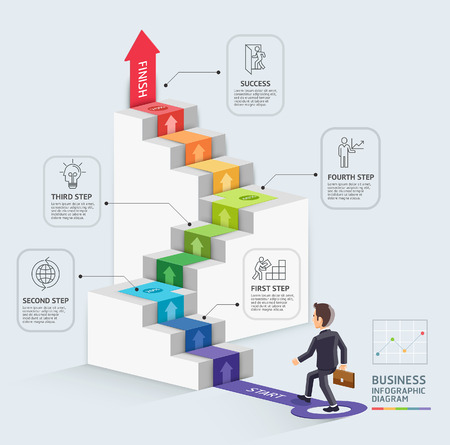 Pasos para iniciar un negocio de plantilla. El hombre de negocios que recorre encima de una flecha. Ilustración del vector. Puede ser utilizado para el diseño de flujo de trabajo, diagrama, opciones de número, diseño web, infografía y la línea de tiempo.