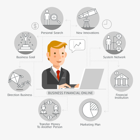 Business Financial Online Conceptual Flat Style. Vector Illustration. Can Be Used For Workflow Layout Template, Banner, Diagram, Number Options, Web Design, Infographics, Timeline.