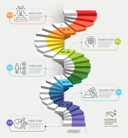 staircase: Steps to starting a business template. Vector illustration. Can be used for workflow layout, diagram, number options, web design, infographics and timeline.