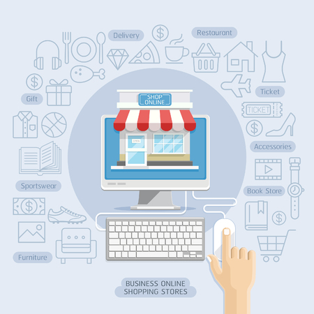 cuisine entertainment: Shopping online business conceptual flat style. Vector illustration. Can be used for workflow layout template, banner, diagram, number options, web design, infographics, timeline.