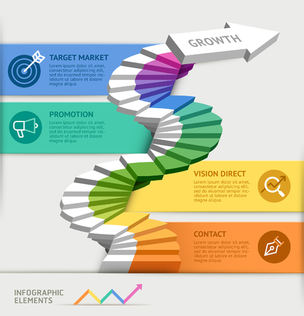 spiral stairs: Steps to starting a business template. Vector illustration. Can be used for workflow layout, diagram, number options, web design, infographics and timeline.