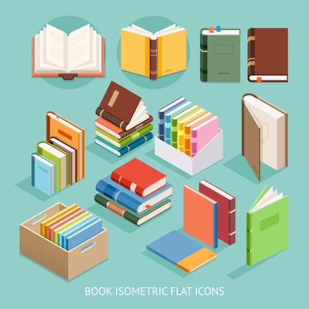 study: Book Isometric Flat Icons set. Illustration Illustration
