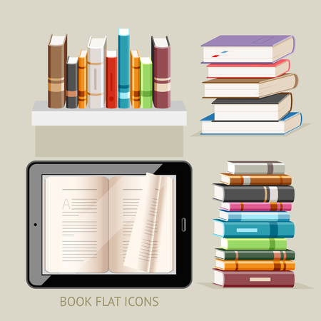 touch screen interface: Book Flat Icons Set. Illustration.