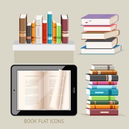 electronic book: Book Flat Icons Set. Illustration.