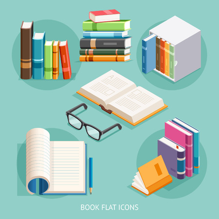Book Flat Icons Set. Illustration.