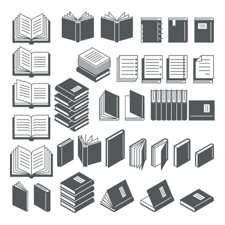 open magazine: Book icons set. Illustration. Illustration
