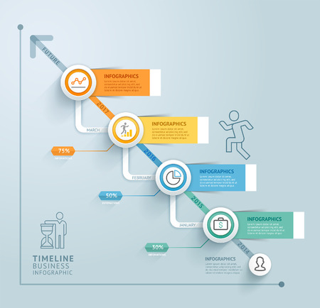 demographics: Business timeline info graphic template. illustration. Can be used for workflow layout, banner, diagram, number options, web design. Illustration