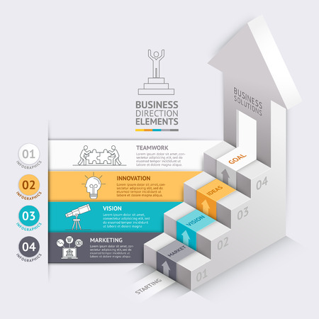 step up: 3d Business arrows staircase diagram template. illustration. can be used for workflow layout, number options, step up options, web design, infographics, timeline template.