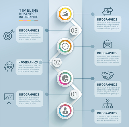 비즈니스 타임 라인 정보 그래픽 템플릿입니다. 삽화. 워크 플로 레이아웃, 다이어그램, 숫자 옵션, 웹 디자인에 사용할 수 있습니다.