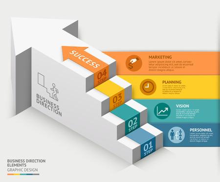 flechas direccion: plantilla de diagrama de escalera de negocios 3d. ilustración. se puede utilizar para el diseño de flujo de trabajo, opciones de números, intensificar opciones, diseño web, infografía, plantilla línea de tiempo. Vectores
