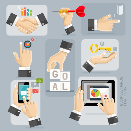 hit tech: Business Hands Flat Icons Set. Illustration.