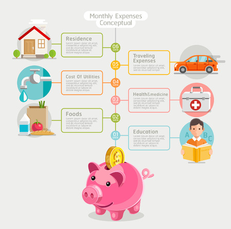 utility payments: Monthly expenses conceptual flat style. illustration. Can be used for workflow layout template,  diagram, number options, web design, infographics, timeline.