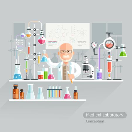 medical laboratory: Professor Working on Medical Laboratory