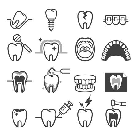 Stomatologiczne ikony zębów