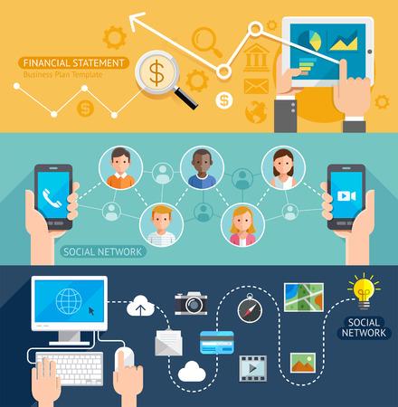 technology: Social Network Technology Flat Banner Illustration