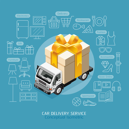 shoe box: Car Delivery Service Conceptual Isometric Flat Style. Car with Gift Box.