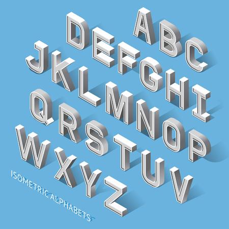Isometrische alfabetten. Stock Illustratie