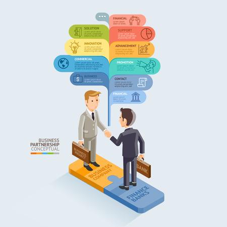 business team: Business Partnership Isometric Conceptual. Businessman Handshake On Jigsaw Puzzle. Illustration
