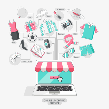 Shopping stores online conceptual line icons style.