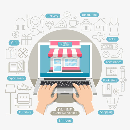 Shopping online business conceptual flat style. Can be used for workflow layout template, banner, diagram, number options, web design, infographics, timeline. Illustration