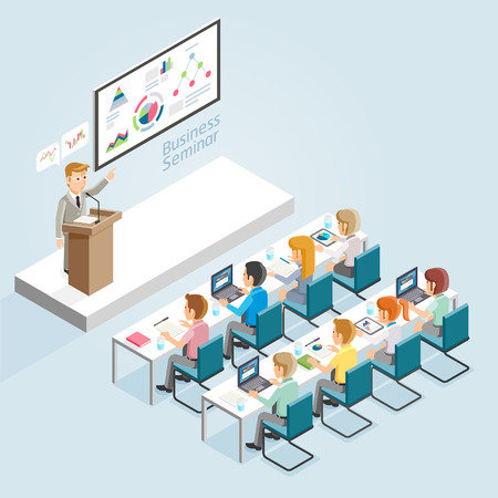 Business Seminar Isometric Flat Style. Vectores