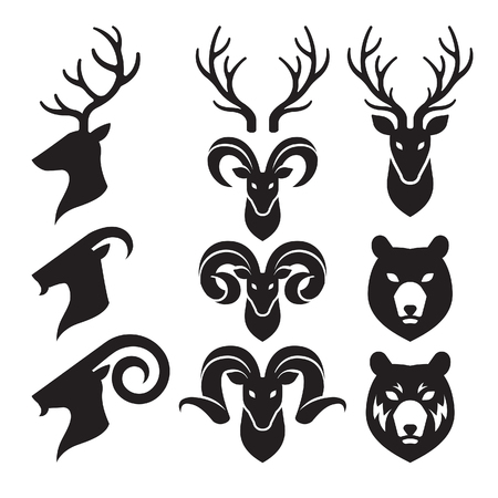 asia deer: Animal Horn and Head Icons Set. Goat, Deer and Bear.