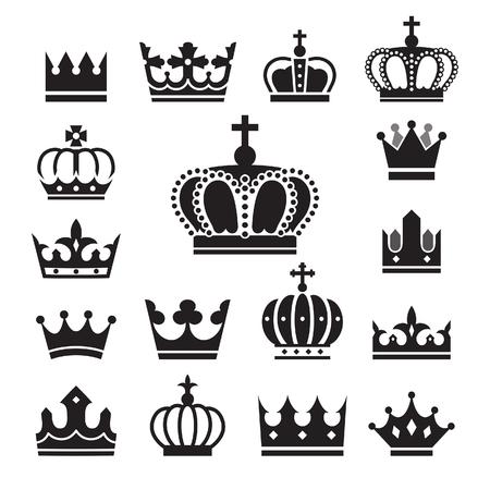 royals: Crown icons set. Illustration