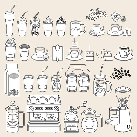 cafe sign: Coffee doodle icon style. Vector illustration.