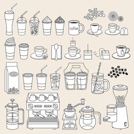 Kawa doodle ikony stylu. ilustracji wektorowych.