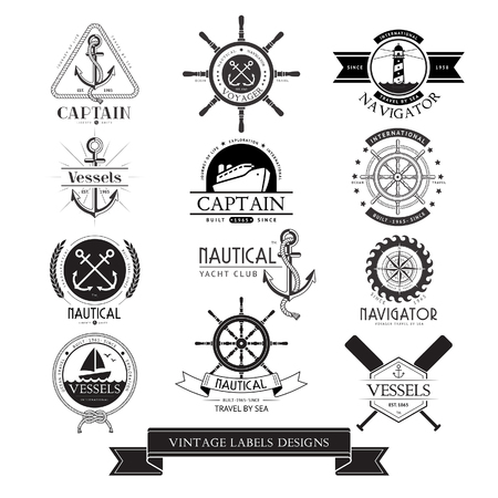 vessels: Nautical vessels vintage labels, icons and design elements. Illustration
