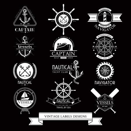 Nautical vessels vintage labels, icons and design elements. Illustration