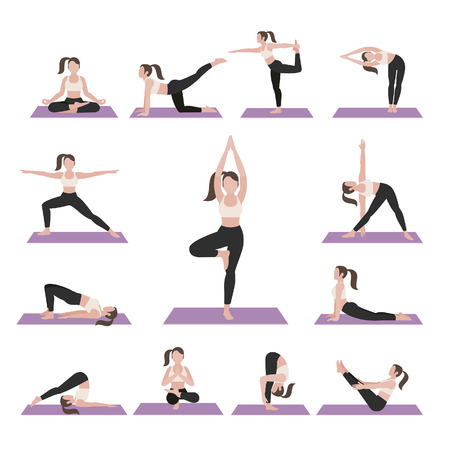 Yoga postures exercises set. illustration. Illustration
