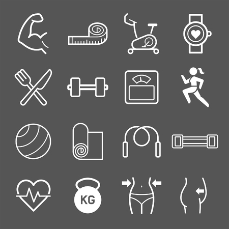 strong: Set of exercise icons. illustrations. Illustration