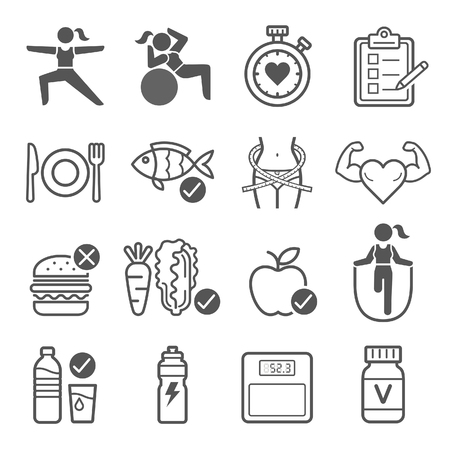 bodies of water: Diet and exercise icons. illustrations.