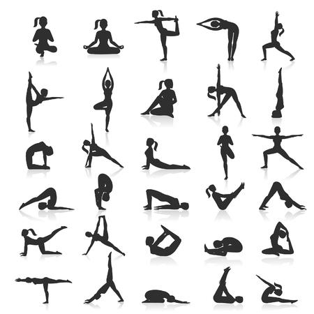 Yoga postures exercises set. illustration. Vectores