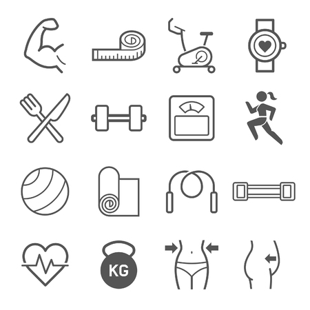 Set of exercise icons. illustrations. Vettoriali