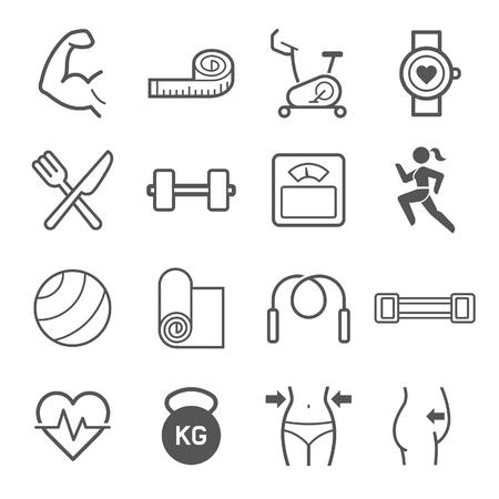 Zestaw ikon ćwiczeń. ilustracjami.