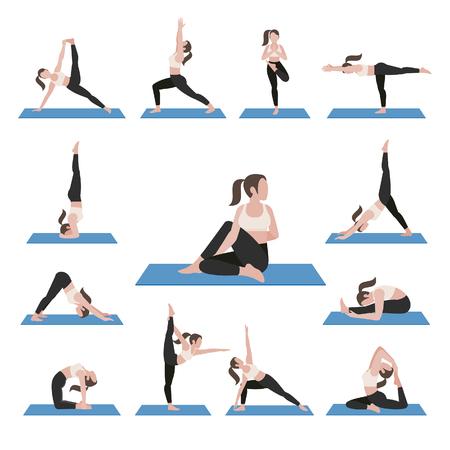 icon: Yoga postures exercises set.  illustration. Illustration