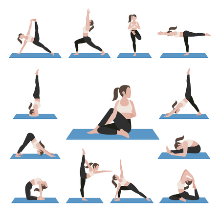 Yoga postures exercises set.  illustration. Çizim