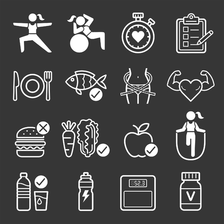 symbol: Diet and exercise icons. illustrations.