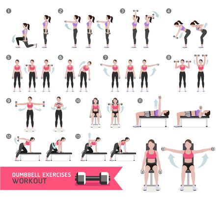 ejercicio aeróbico: Mujer pesa de gimnasia de la aptitud del entrenamiento y ejercicios. Vectores