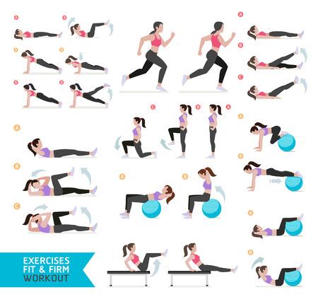 fitnes: Kobieta treningu fitness, aerobik i ćwiczenia. Ilustracja