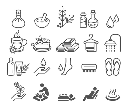 spa: Spa massage therapy cosmetics icons.