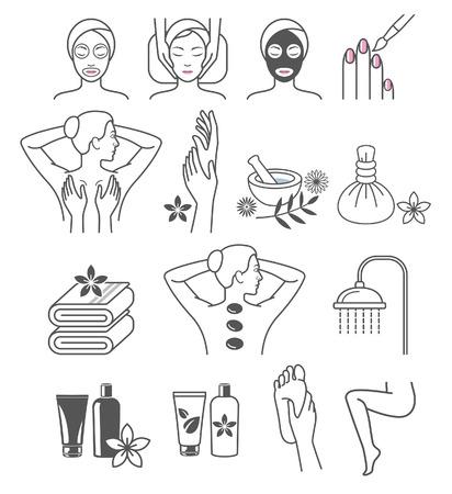 Spa-Massage-Therapie Hautpflege & Kosmetik Dienstleistungen Symbole.